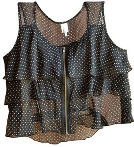 Rue 21 Ruffled Sheer Polyester Sleeveless Top Black with white spots