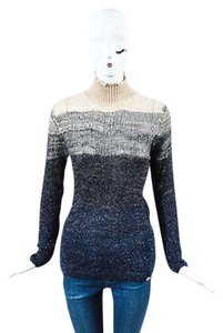 Chanel Beige Navy Blue Metallic Ombre Turtleneck Sweater