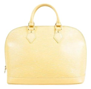 Louis Vuitton Pale Epi Leather Gold Tone Zip Alma Pm Satchel in Yellow