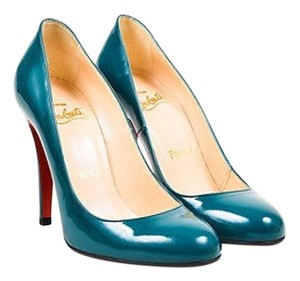 Christian Louboutin Teal Patent Leather Ron Ron 100 Round Toe Blue Pumps