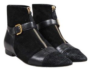 Chanel Suede Leather Front Zip Buckle Strap Pointed Toe Ankle Black Boots