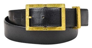 Chanel Vintage Chanel 95p Black Leather Gold Tone Etched Cc Logo Buckle Belt 75
