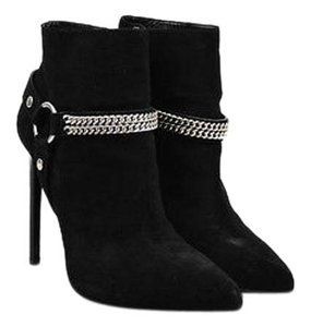 Saint Laurent Shw Suede Chain Embellished Pointed Toe Black Boots