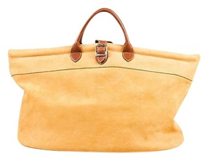 Longchamp Brown Pebbled Leather Double Handle Tote in Tan