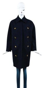 Gucci Navy Ghw Wool Double Breasted Collared Zip Up Long Sleeve Pea Coat