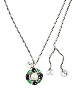 Chanel Chanel 09a Silver Tone Navy Green Enamel Pendant Cc Necklace