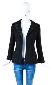 Chanel Chanel 06a Black Wool Tweed Satin Lapel Multi Pocket Blazer Jacket