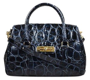 Escada Navy Ghw Texturized Leather Two Way Handbag Satchel in Blue