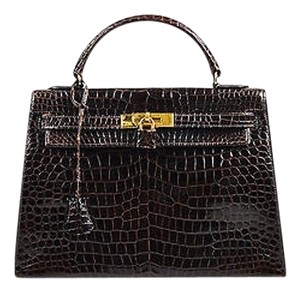 Hermès Gold Porosus Shiny Crocodile Kelly 32 Handbag Tote in Brown