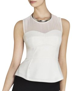 BCBGMAXAZRIA Peplum Sheer Top white