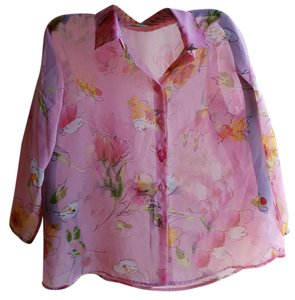 Notations Polyester Button Front Top Pink floral