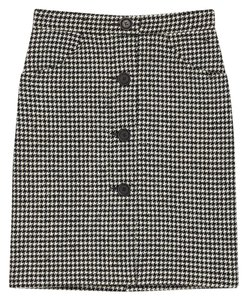 Maje Pencil Houndstooth Skirt Black