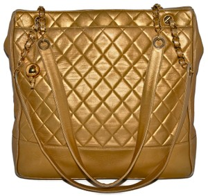 Chanel Shoulder Quilted Lambskin Tote in Gold