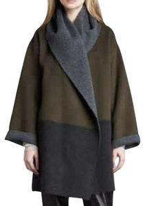 Vince Wool Hooded New Two-tone Coat
