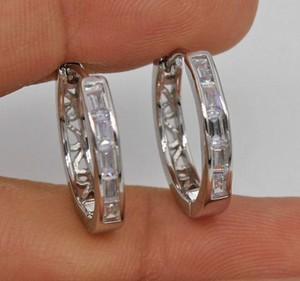 18k White Gold Filled White Topaz Hoop Earrings Free Shipping