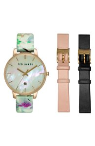 Ted Baker Ted Baker London Round Dial Leather Strap Watch Set, 40mm