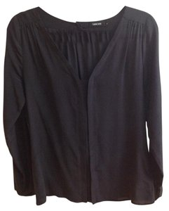 Turnover Silk Top Black