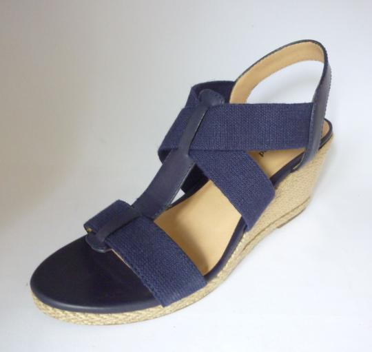 Lucky Brand Leather Wedge Moroccan Blue Sandals Image 1