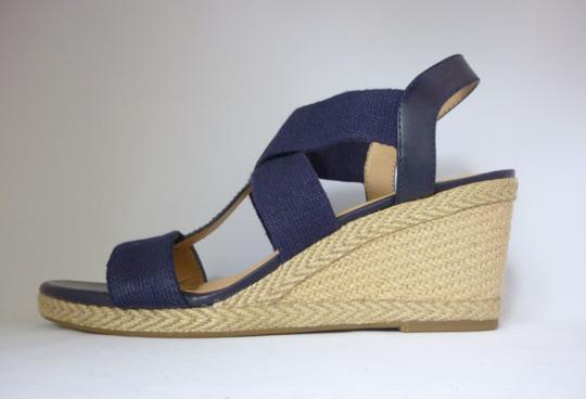 Lucky Brand Leather Wedge Moroccan Blue Sandals Image 3