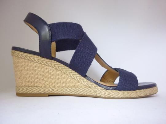 Lucky Brand Leather Wedge Moroccan Blue Sandals Image 4
