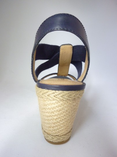 Lucky Brand Leather Wedge Moroccan Blue Sandals Image 6