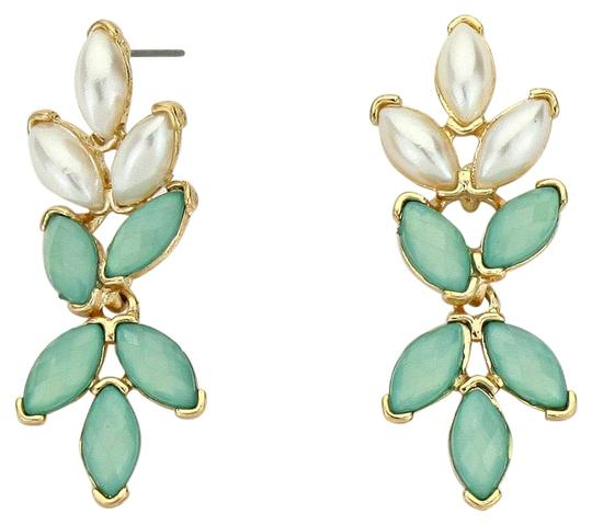 Other Floral Pearl Rhinestone Mint Green Gold Accent Drop Dangle earring