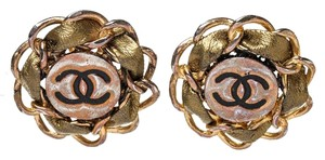 Chanel Chanel Gold CC Logo Round Clip On Earrings