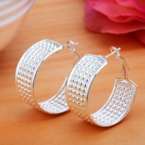 Wide Textured Silver Hoop Earrings Free Shipping