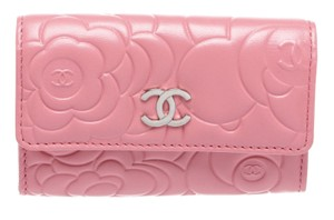 Chanel Chanel Pink Lambskin Leather Camellia Flower CC Compact Wallet