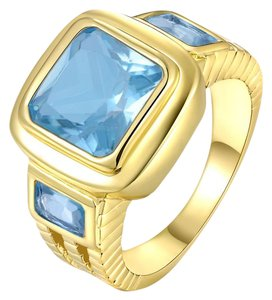 Reduced! 8ct Blue Topaz Yellow Gold Filled Ring Free Shipping