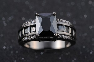 New Style Blackened Steel & Onyx Fashion Ring Free Shipping