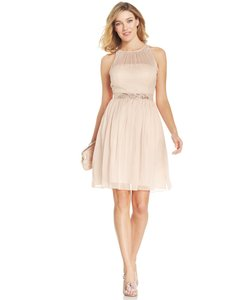 Adrianna Papell Blush Belted Chiffon Halter Dress Dress