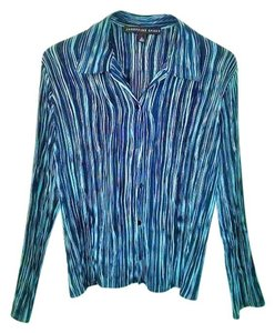 Josephine Chaus Stretchy Longsleeve Bold Stripe Contrast Polyester Button Down Shirt Multi