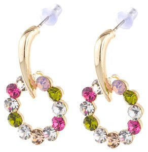 Other 18k Yellow Gold Plated Multicolor Crystal Dangle Posh Earrings
