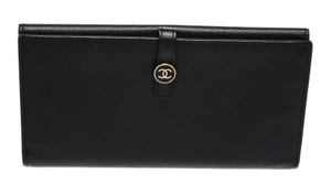 Chanel Chanel Black Caviar Leather Gold CC Long Wallet