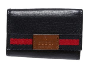 Gucci Gucci Navy Blue Calfskin Leather 6 Key Holder