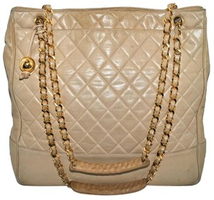 Chanel Quilted Lambskin Tote in Beige