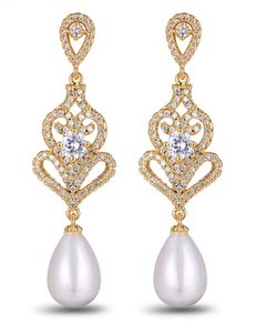 Gold Plated Micro Pave Clear Cubic Zircon Faux Pearl Drop Earrings