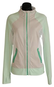 Lululemon luon stretch zip up green beige gray jacket