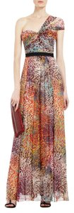 BCBGMAXAZRIA Silk One Shoulder Metallic Dress