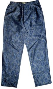 Coldwater Creek Silk Paisley Side Zip Straight Pants blue gray purple