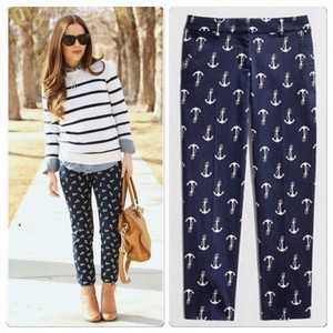 J.Crew Capri/Cropped Pants Navy Blue with Anchors