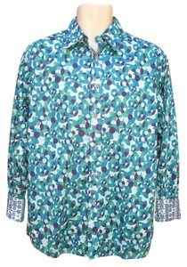 Robert Graham Print Button Front Mens Shirt Geometric Button Down Shirt Blue Multi