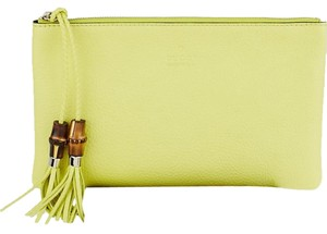 Gucci Leather Bamboo Tassels Yellow Clutch