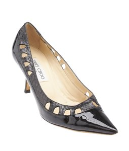 Jimmy Choo Patent Leather Perforated Black Pumps