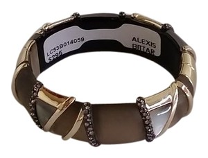 Alexis Bittar Lucite Mother-of-Pearl Hinge Bangle Bracelet with Crystals