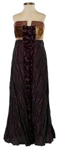 Nicole Miller Silk Print Patchwork Strapless Metallic Dress
