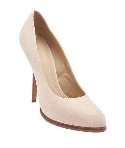Céline Almond Toe Wood Heel Pink Beige Pumps