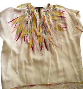 BCBGMAXAZRIA Top Multi-colored; Cream, Fuscia, Yellow, Pink, Green, Gray