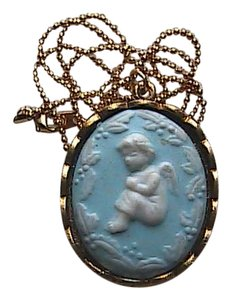 Vintage Gold Filled Blue & White Angel Cameo Necklace